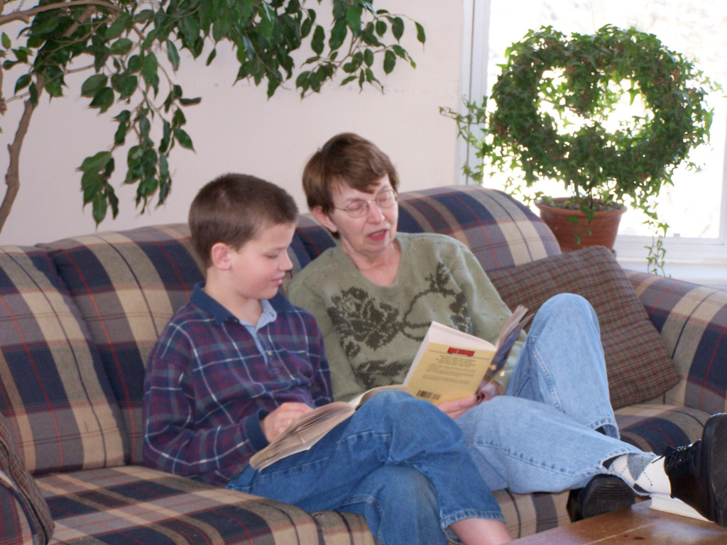 mom reading with Jake